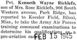 Ricklefs reported to Keesler Field in Mississippi to take Army Air Force examinations