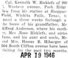 Ricklefs spent a three week furlough from Sheppard Field in Texas with his grandfather and family