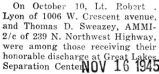 Robert Lyon received his honorable discharge from the Great Lakes Separation Center