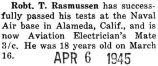 Robert Rasmussen completed a course and became an Electrician's Mate third class