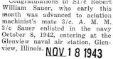 Robert Sauer was advanced to aviation machinist's mate third class while at Glenview naval air...