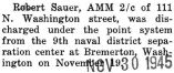 Robert Sauer was discharged from the Navy at Bremerton, Washington