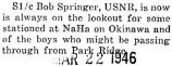 Robert Springer was stationed at Na Ha on Okinawa