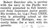 Robert Zuercher was promoted to a full lieutenant while serving with the Navy in the Pacific
