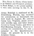 Rudolph Olson was stationed at St. Petersburg, Florida with the Aviation Corps