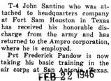 Santino received an honorable discharge from the Army