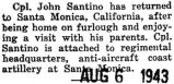 Santino returned to Santa Monica, California after a furlough at home