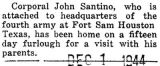 Santino was home on furlough from Fort Sam Houston