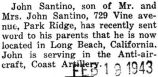 Santino was stationed at Long Beach, California
