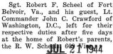 Scheel was home for a five day furlough before he reported to Fort Belvoir, Virginia