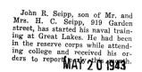 Seipp started naval training at Great Lakes