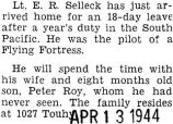 Selleck was home for an eighteen-day leave after he was stationed in the South Pacific for a year