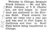 Sergeant Frank Johnson stationed in Chicago at the Stevens Hotel with the army air corps