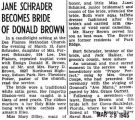 Jane Schrader Becomes Bride of Donald Brown