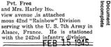 Serving with the U.S. 7th Army's Rainbow Division in Alsace, France (Document Incomplete)