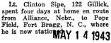 Sipe spent four days at home enroute to Pope Field at Fort Bragg, North Carolina