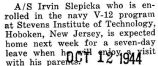 Slepicka was enrolled in the V-12 program at Stevens Institute of Technology