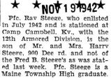 Steege was stationed at Camp Campbell Kentucky with the twelth armored division of the Army