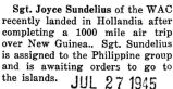 Sundelius awaited new orders in Hollandia