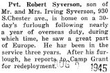 Syverson was home for a thirty day furlough after he was stationed overseas for a year