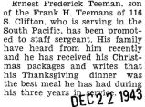 Teeman was promoted to a Staff Sergeant while he was stationed in the South Pacific