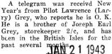 "Telegram received from Lawrence stationed in the British Isles saying he is ""O.K."""