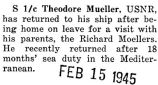Theodore Mueller had a furlough after being at sea for eighteen months