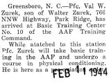 Valentine Zurek took AAF training at the Basic Training Center number ten in Greensboro