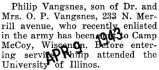 Vangsnes was sent to Camp McCoy, Wisconsin with the Army