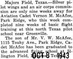 Vernon McAfee finished basic flight training at Majors Field in Texas