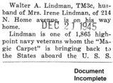 Walter A. Lindman is on his way home (Document Incomplete)