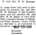 Walter Springer and his wife made surprise visits to each of their parents (Document Incomplete)