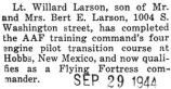 Willard Larson qualifies as a Flying Fortress commander