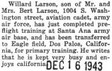 Willard Larson stationed at Eagle Field in California for primary flight training