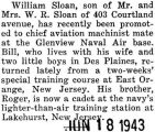 William Sloan was stationed at the Glenview Naval Airbase