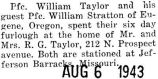 William Taylor and friend came to Park Ridge for their furlough from Jefferson Barracks, Missouri