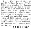 William West was a navigation and blind flying instructor at Chanute Field in Rantoul, Illinois