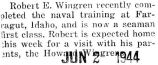 Wingren completed naval training in Farragut, Idaho and was made a seaman first class