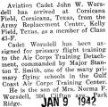 Worsdell took primary flight training at Corsicana Field in Texas