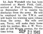 Worsdell was discharged from the Army at Fort Sheridan in Illinois