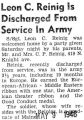 Leon C. Reinig Is Discharged From Service in Army