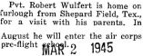 Wulfert was home on a furlough from Sheppard Field in Texas