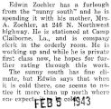 Zaehler was home on furlough from Camp Claiborne, Louisiana