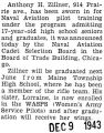 Zillner was sworn into the Naval Aviation pilot training program