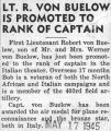 "Von Buelow ""Lt. R. Von Buelow is Promoted to Rank of Captain"""