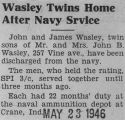 """Wasley Twins Home After Navy Srvice [sic]"""