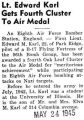 Lt. Edward Karl Gets Fourth Cluster to Air Medal