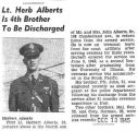 Lt. Herb Alberts is 4th Brother To Be Discharged