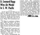 Lt. Leonard Happ Wins Air Medal in S.W. Pacific
