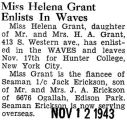 Miss Helena Grant Enlists in Waves
